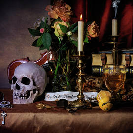 Levin Rodriguez - Vanitas with Books-Candles-Roemers-Bouquet