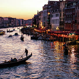 Georgia Mizuleva - Venetian Impressions - Grand Canal Busy Traffic in Purple and Gold