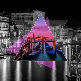 VENICE Canal Grande and Gondolas at Sunset - Geometric Collage II - Melanie Viola