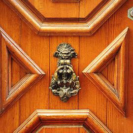 Suzanne Powers - Venice Geometric Oak Wood Door And Brass Knocker