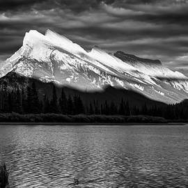 Vermillion Lakes and Mt Rundle BW