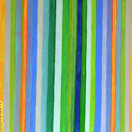 Heidi Capitaine - Vibrant Stripes in Orange Green and Blue