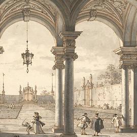 View through a Baroque Colonnade into a Garden - Canaletto