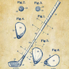 Nikki Marie Smith - Vintage 1910 Golf Club Patent Artwork