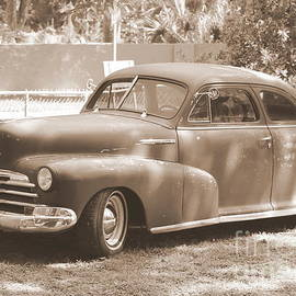 Diann Fisher - Vintage 1940 Chevrolet Coupe in Black and White Sepia