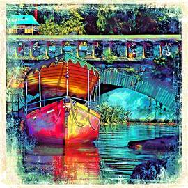 Sue Jacobi - Vintage Boat Reflections Water Bridge Udaipur City of Lakes Rajasthan India 1a