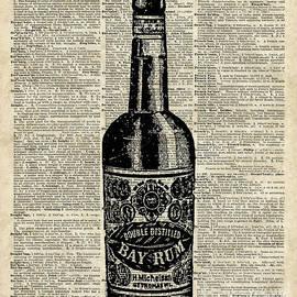 Vintage Bottle of Rum Over Antique Book Page