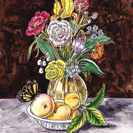 Irina Sztukowski - Vintage Bouquet With Fruits And Butterfly