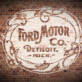 Vintage Ford Logo Painted on Old Brick Wall in Detroit Michigan - Design Turnpike