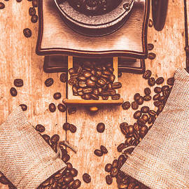 Vintage grinder with sacks of coffee beans - Jorgo Photography - Wall Art Gallery