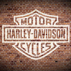 Vintage Harley Davidson Logo Painted on Old Brick Wall - Design Turnpike
