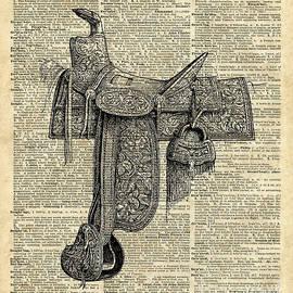 Vintage Horse Saddle Illustration Over Old Book Page