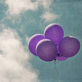 Brooke T Ryan - Vintage Inspired Purple Balloons in Blue Sky