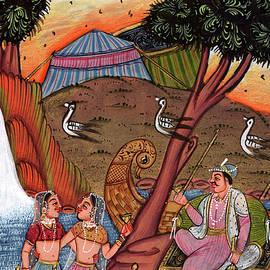 M B Sharma - Vintage Royal King Miniature Painting Online Old Postcard Indian Artwork watercolor painting