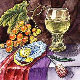 Irina Sztukowski - Vintage Still Life With Grape And Lemon