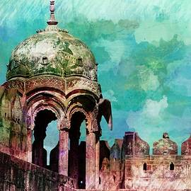 Sue Jacobi - Vintage Watercolor Gazebo Ornate Palace Mehrangarh Fort India Rajasthan 2a