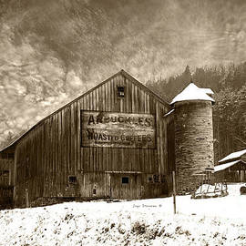 John Stephens - Vintage Weathered Winter Storm Barn Arbuckles Coffee Sign