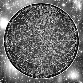 Vintage Zodiac Map - Black and White - Marianna Mills