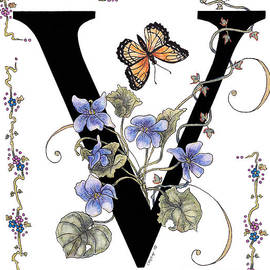 Stanza Widen - Violets and a Viceroy Butterfly