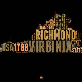 Virginia Word Cloud Map 1 - Naxart Studio