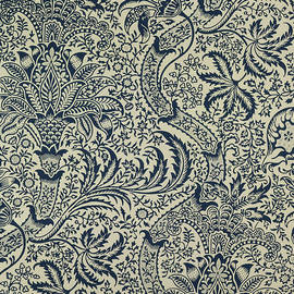 Wallpaper with navy blue seaweed style design - William Morris