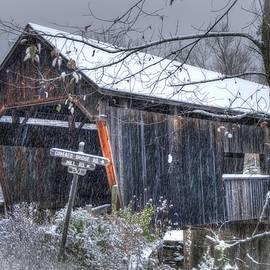 Joann Vitali - Warren Covered Bridge in Snow - Warren Vermont