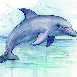 Watercolor Dolphin Painting - Facing Right - Olga Shvartsur