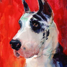 Svetlana Novikova - Watercolor Harlequin Great Dane Dog Portrait 2