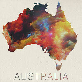 Watercolor Map of Australia - Design Turnpike
