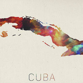Watercolor Map of Cuba - Design Turnpike