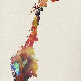 Watercolor Map of Norway - Design Turnpike