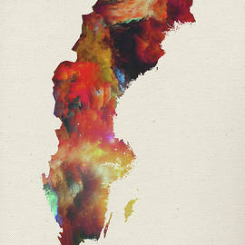 Watercolor Map of Sweden - Design Turnpike