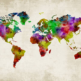 Mihaela Pater - Watercolor map of the world