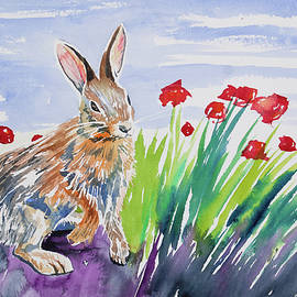 Cascade Colors - Watercolor - Rabbit with Poppies