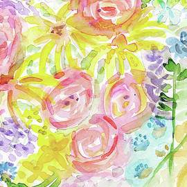 Watercolor Rose Garden- Art by Linda Woods - Linda Woods