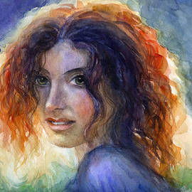 Svetlana Novikova - Watercolor Sunlit Woman Portrait 2