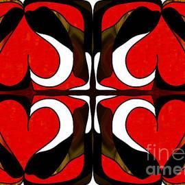 Omaste Witkowski - Wavering Hearts Abstract Bliss Art by Omashte
