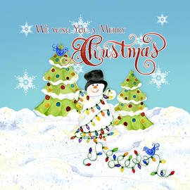 We Wish You a Merry Christmas - Snowman All Tangled Up in Lights - Audrey Jeanne Roberts