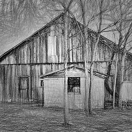 William Sturgell - Weathered Barn And Shed in Black and White