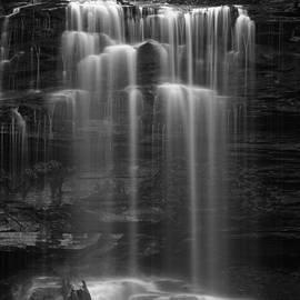 John Stephens - Weeping Wilderness Waterfall Black and White