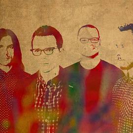 Weezer Rock Alternative Band Watercolor Portrait - Design Turnpike