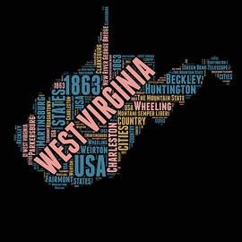 West Virginia Word Cloud Map 1 - Naxart Studio