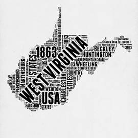 West Virginia Word Cloud Map 2 - Naxart Studio