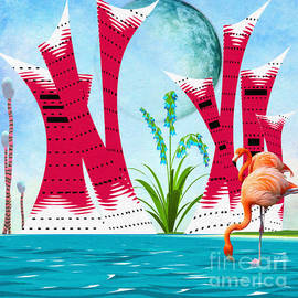 L Wright - Whimsical Coastal Cityscape Abstract Painting Morning Glory By L
