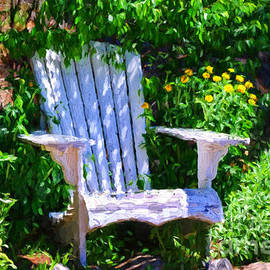 White chair in the garden