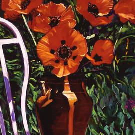 David Lloyd Glover - White Chair, Red Poppies