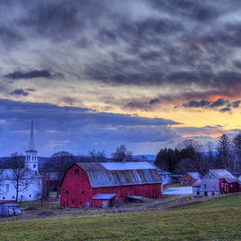 Joann Vitali - White Church Red Barn Country Scene - Peacham Vermont