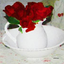 Miss Pet Sitter - White Jar Of Red Roses Painting