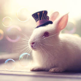 Ashraful Arefin - White Rabbit With Hat And Bubbles
