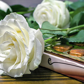 Galina Tolochko - White roses and chocolate as a gift on Valentine